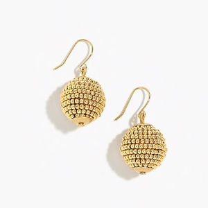 J. Crew Gold Beaded Orb Ball Drop Earrings